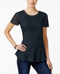 Charter Club Petite Lace Peplum Top Only At Macy's Deepest Navy
