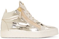 Giuseppe Zanotti Gold Patent Leather London High Top Sneakers