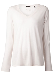 Atm V Neck Sweater Pink And Purple