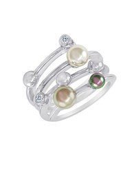 Majorica Sterling Silver Ring With Man Made Organic Pearl Accents Pearl Silver