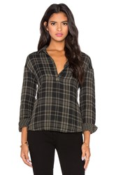 Stateside Double Face Plaid Button Up Green
