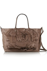 Valentino Rosette Embellished Leather Shoulder Bag