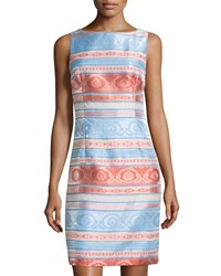 Chetta B Striped Jacquard Sleeveless Sheath Dress Coral Bluebonnet