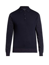 Lanvin Contrast Panel Long Sleeved Wool Polo Shirt Navy
