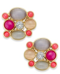 Kate Spade New York Gold Tone Colorful Stone And Crystal Stud Earrings Multicolor
