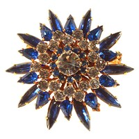 Alice Joseph Vintage 1950S Gold Toned Navette Diamante Flower Brooch Sapphire Blue Clear