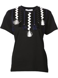 Toga Pulla Appliqua Ribbon T Shirt Black