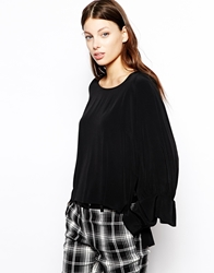 See By Chloe Double Cuff Blouse In Crinkle Viscose Black