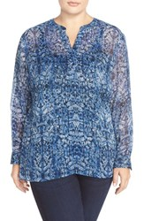 Plus Size Women's Two By Vince Camuto 'Oasis Rhapsody' Sheer Split Neck Blouse