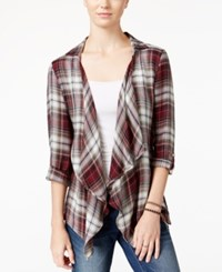 American Rag Plaid Crocheted Back Cardigan Only At Macy's Zinfandel