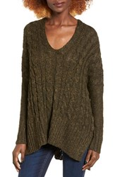 Love By Design Women's Marled Cable Knit Pullover Black Olive Marled