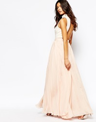 Fame And Partners Downtown Queen Full Prom Maxi Dress With High Neck Ivorypink