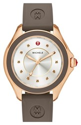 Women's Michele 'Cape' Topaz Dial Silicone Strap Watch 40Mm Coca Gold