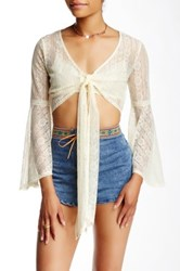 Flying Tomato Bell Sleeve Lace Crop Blouse White