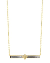 Freida Rothman Pave Clover Bar Pendant Necklace Women's