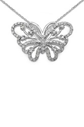 Sheila Kay Sterling Silver White Diamond Butterfly Pendant Necklace 0.40 Ctw Metallic