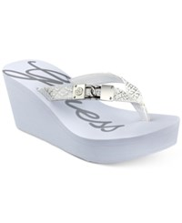 Guess Women's Sahari Platform Wedge Sandals Women's Shoes White