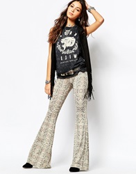 Lira Bell Bottom Flare Trousers With Snakeskin Print Multi