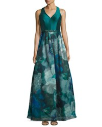 Theia Sleeveless V Neck Watercolor Ball Gown Peacock
