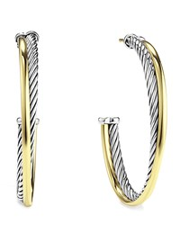 Crossover Extra Large Hoop Earrings With Gold David Yurman