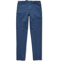 Boglioli Slim Fit Stretch Cotton Trousers Blue