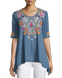 Johnny Was Josephine Half Sleeve Floral Embroidered Trapeze Tee Women's Heather Grey