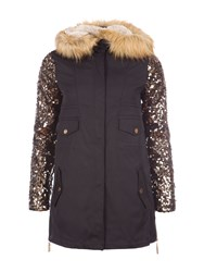 Relish Parka With Sequined Sleeves Black