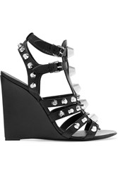 Balenciaga Studded Textured Leather Wedge Sandals Black