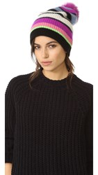 White Warren Cashmere Multicolor Stripe Beanie With Pom Pom Sky Multi
