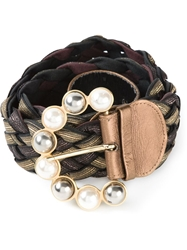 Borbonese Vintage Pearl Embellished Buckle Belt Black
