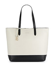 Cole Haan Palermo Two Tone Leather Tote Ivory Black