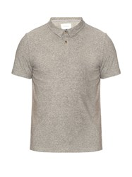 Solid And Striped Short Sleeved Cotton Jersey Polo Shirt Grey