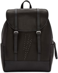 Neil Barrett Black Leather Studded Thunderbolt Backpack