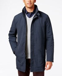 Kenneth Cole Zipper Front Overcoat Navy