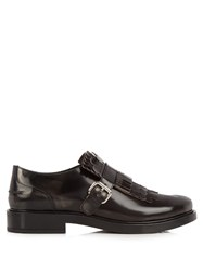 Tod's Gomma Fringed Patent Loafers Black