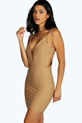 Boohoo Violet Plunge Neck Cut Out Bodycon Dress Camel