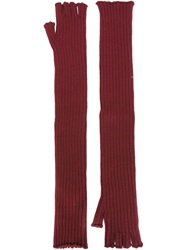 Maison Martin Margiela Maison Margiela Long Fingerless Gloves Red