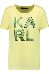 Karl Lagerfeld Ramy Embroidered Cotton Blend T Shirt Yellow