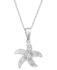 Macy's Diamond Starfish Pendant Necklace In Sterling Silver 1 10 Ct. T.W.