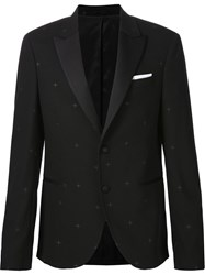 Neil Barrett Embroidered Star Tuxedo Blazer Black