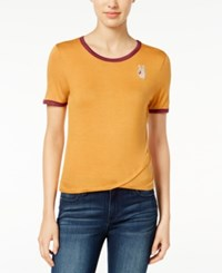 Rebellious One Juniors' Peace Patch Graphic T Shirt Ochre Burgundy
