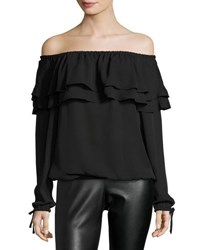 Michael Michael Kors Off The Shoulder Ruffle Peasant Top Black