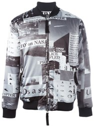Blood Brother Police Print Bomber Jacket Black
