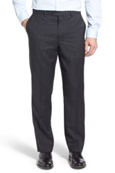 John W. Nordstrom Flat Front Plaid Wool Trousers Gray