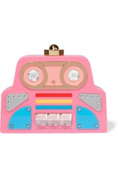 Charlotte Olympia Cobot Embellished Perspex Clutch Pink