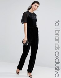 True Decadence Tall Velvet Jumpsuit With Mesh Inserts Black