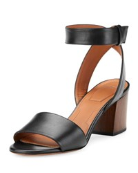 Paris Block Heel Ankle Wrap Sandal Black