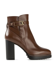 Tod's Strap Buckle Ankle Boots Brown