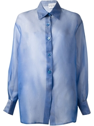 Gianfranco Ferre Vintage Boxy Sheer Shirt Blue