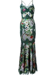 Dolce And Gabbana Floral Print Gown Green